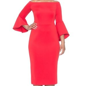 Eloquii Off the Shoulder Flare Sleeve Dress Red Dr